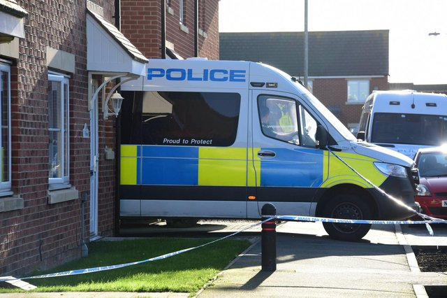 Police at Foxcover, in Linton, where a murder investigation has been launched. Picture by North News.