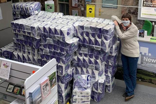 Rachel Sinton of Glendale Gateway Trust with a delivery of toilet rolls to Wooler Food Bank during the pandemic.