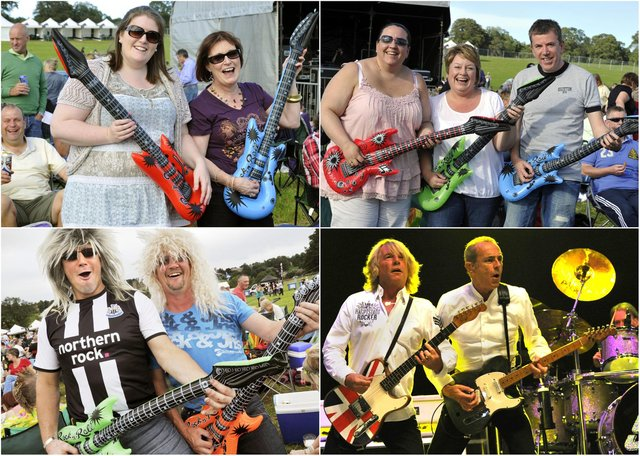 Getting in the mood for the Status Quo and 10cc concert in the Pastures, Alnwick, in 2011.