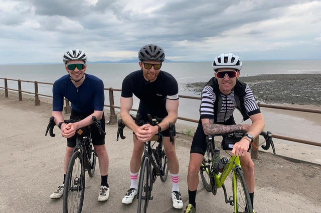 From left, Jon Archer, Jack Quinlan and Joe Hunter during their final training ride. RMT Accountants is meeting all their hotel and support vehicle costs.