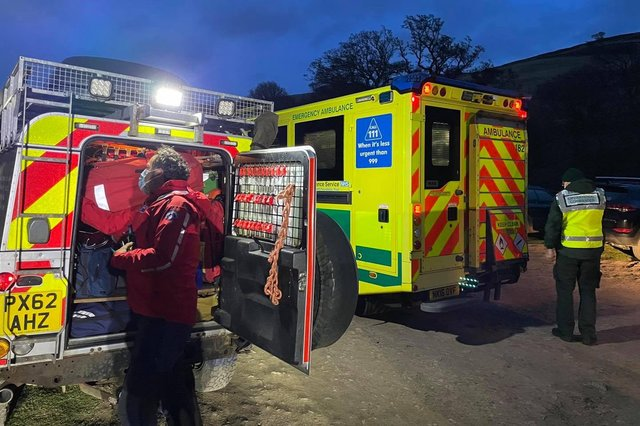 Mountain rescue teams and North East Ambulance Service were called out to help a walker in difficulty in the Cheviots. Picture: Northumberland National Park Mountain Rescue Team