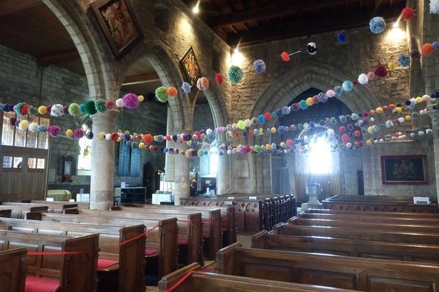 Pompoms at St Aidan's Church in Bamburgh.