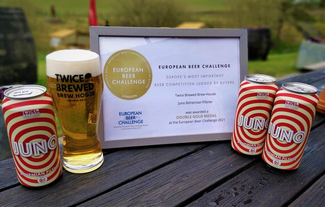 Juno Pilsner from The Twice Brewed Brew House has won a Double Gold Medal at the European Beer Challenge.