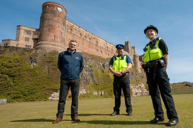 PC Kerry O'Donnell and PCSO Rob Younger are pictured with Northumberland County Council neighbourhood services manager, Stephen Wardle.
