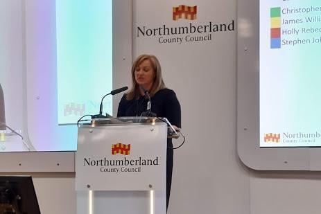 Kelly Angus, Northumberland's returning officer announces one of the results.