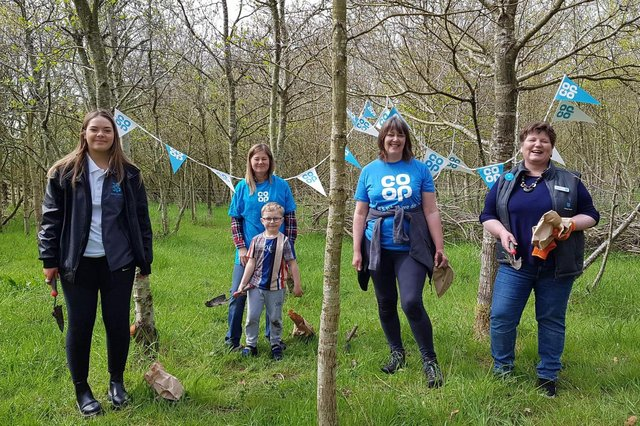 From left, Ella Riches, Co-op member pioneer at Morpeth; Tammy Robson, Co-op store manager at Belford with her grandson Max; Christine Hardy, Co-op member pioneer for Amble and Hadston; Ceri Finn, Co-op member pioneer co-ordinator for Northumberland.