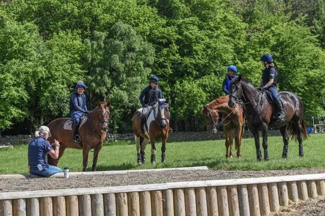 Lucinda Green and riders pictured during the X Country Masterclass clinic at High Plains Equestrian Centre in Northumberland.