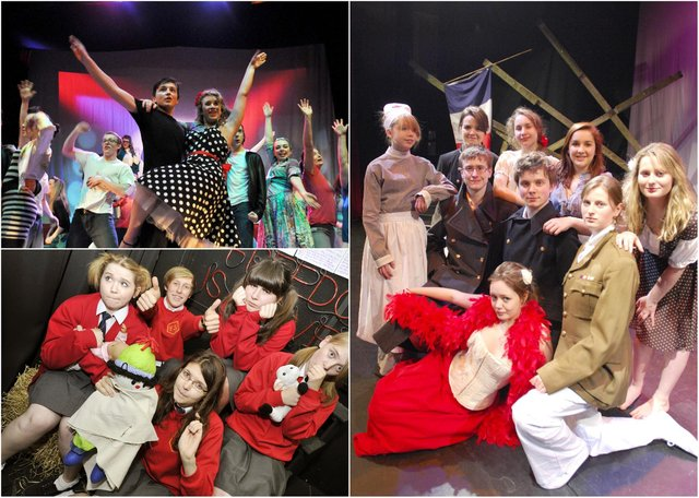 Scenes from Duchess's High School productions Grease (2012), The Flint Street Nativity (2011) and Oh What a Lovely War (2009).