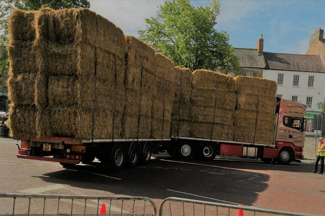 A lorry carrying hay bales had difficulties getting through Alnwick. Picture: Alison Holland