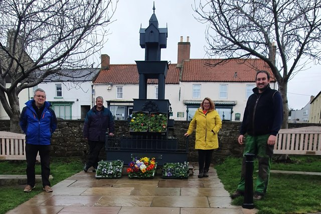 Representatives from Wooler Parish Council, the Glendale Gateway Trust and Wooler Floral Display.