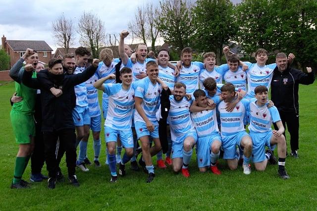 Champions - Alnwick Town Development celebrate winning the North Northumberland League.