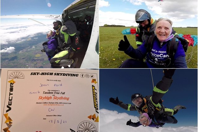 Joan Ford doing her skydive.