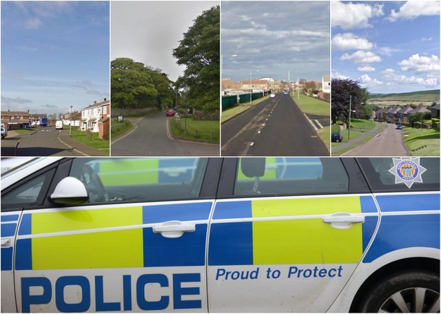 Some of the locations across large parts of Northumberland where most crime was reported, according to latest figures.