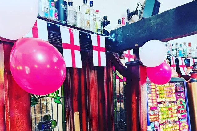 Euros decorations at The Black Swan in Alnwick.