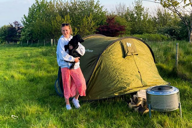 Lucy Baker Cresswell on the 'pop up' campsite.