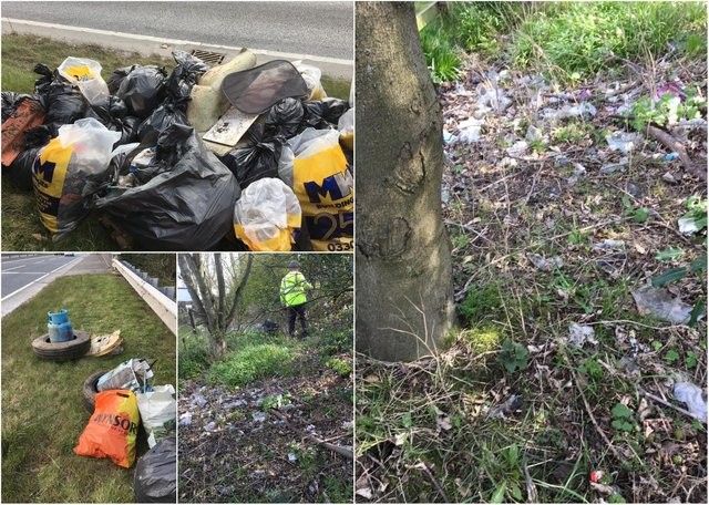 Litter picked up from verges between the A1 and filling station in Alnwick.