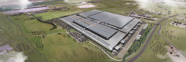 An artist impression of the proposed Britishvolt plant at Cambois.