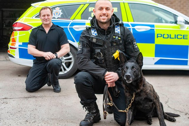 Chief Inspector Ron Charlton with PC Will Driver and PD Mick