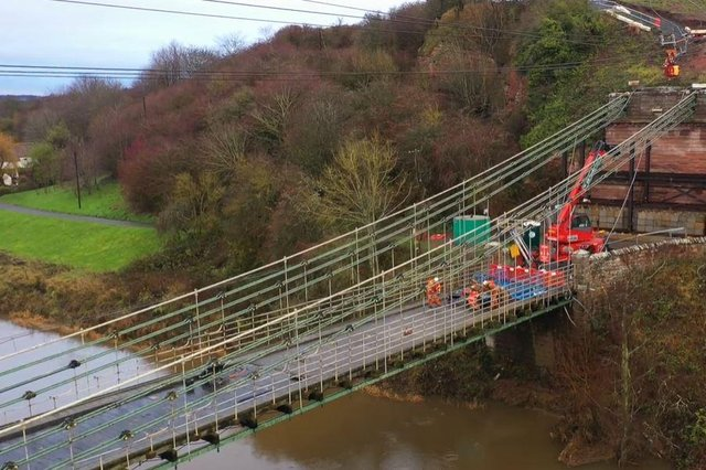 Restoration work on the Union Chain Bridge.
