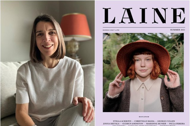 Stella Ackroyd's latest knitwear design is featured on the front of Laine magazine.