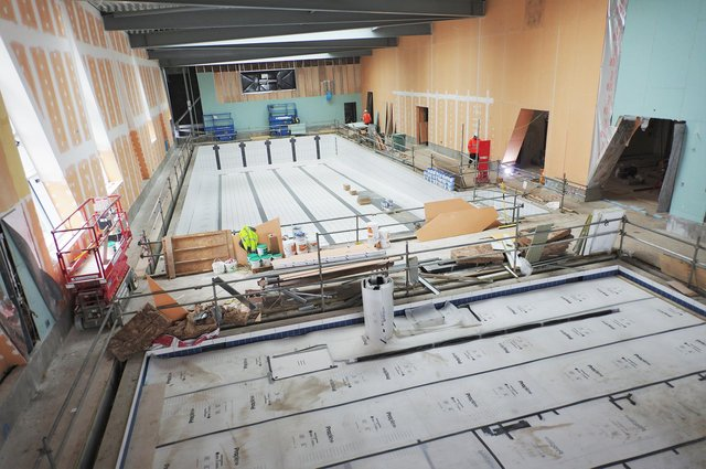 The new swimming pool takes shape at Berwick leisure centre. Picture: Active Northumberland