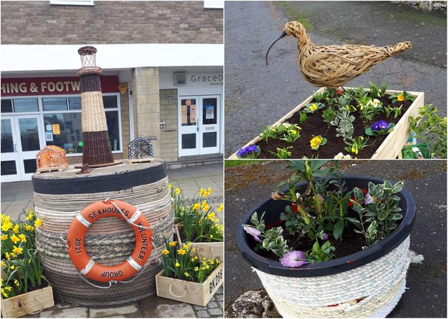 Planters produced by the Seahouses Volunteer Group.