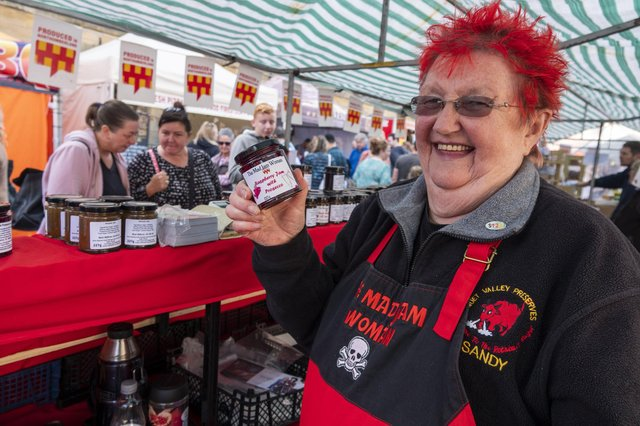 Sandy Higson, the Mad Jam Woman at Alnwick Food Festival. Picture by Jane Coltman.