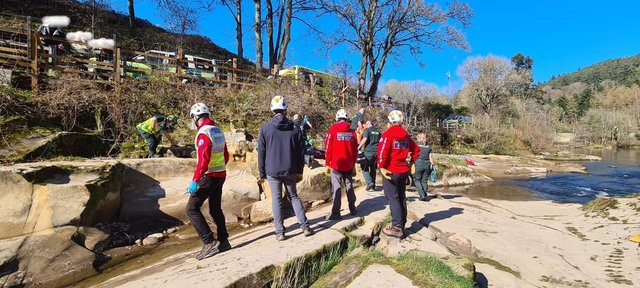 Northumberland National Park Mountain Rescue Team at the scene of the incident in Rothbury
