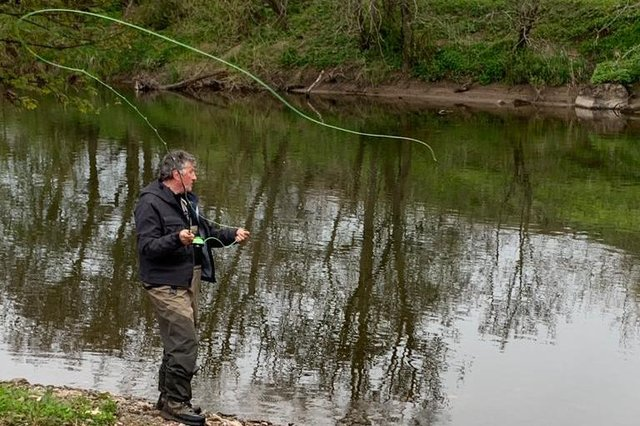 Casting a line on the Coquet.