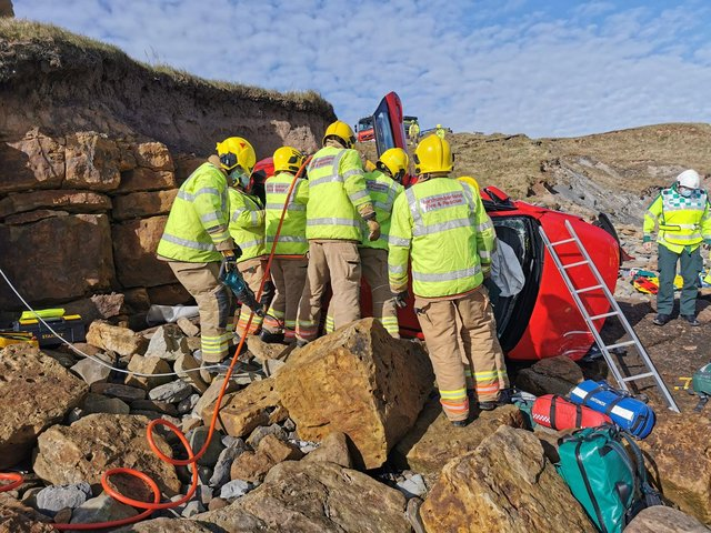 A photo shared by Northumberland Fire and Rescue Service of the rescue mission at Cocklawburn Beach.