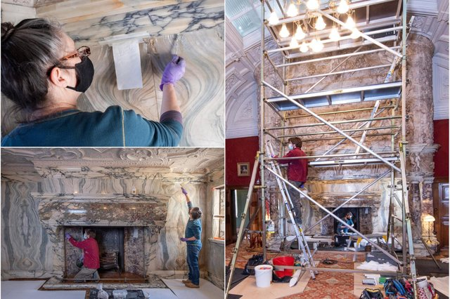 Conservation work in the Drawing Room at Cragside, near Rothbury.