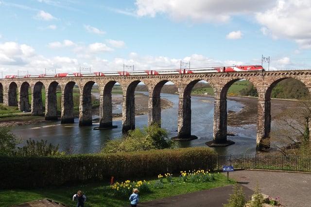 A train crossing the Royal Border Bridge at Berwick.
