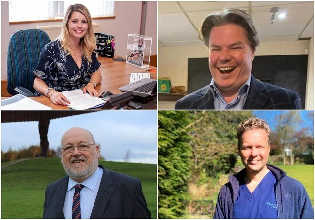 The Police and Crime Commissioner candidates (clockwise from top left): Kim McGuinness, Duncan Crute, Dr Julian Kilburn, and Peter Maughan.