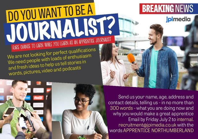 A rare chance has arisen to train as a journalist in Northumberland
