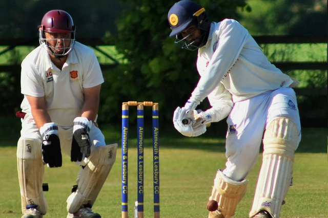 Dushan Hemantha hit a wonderful century for Alnmouth as the beat Consett on Saturday. He is pictured here during and after his innings