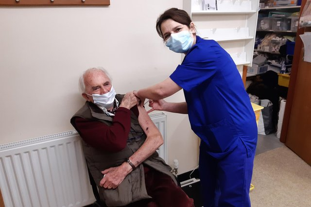 Retired doctor James Mitchell receives his Covid-19 vaccine in Berwick.