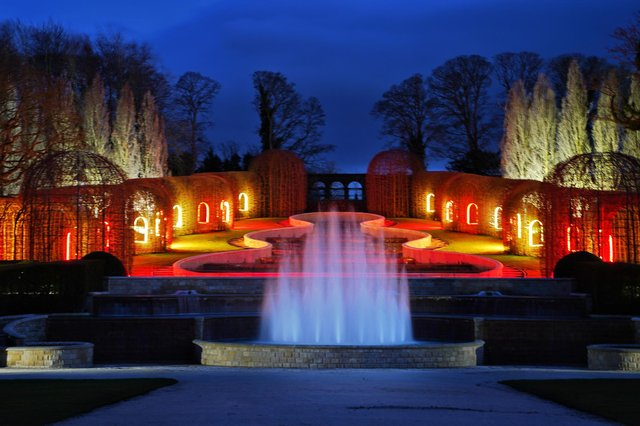 The Alnwick Garden lit in the colours of the Northumberland flag to mark one year since the first Covid-19 lockdown.